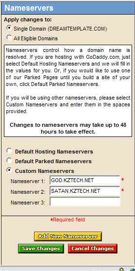 Enter Desired Nameservers
